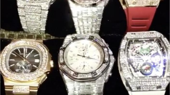 Floyd Mayweather Jr Shows Off His Watch Collection