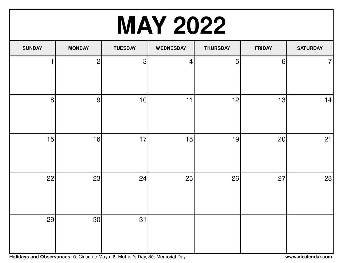 PRINTABLE MAY 2020 CALENDARS