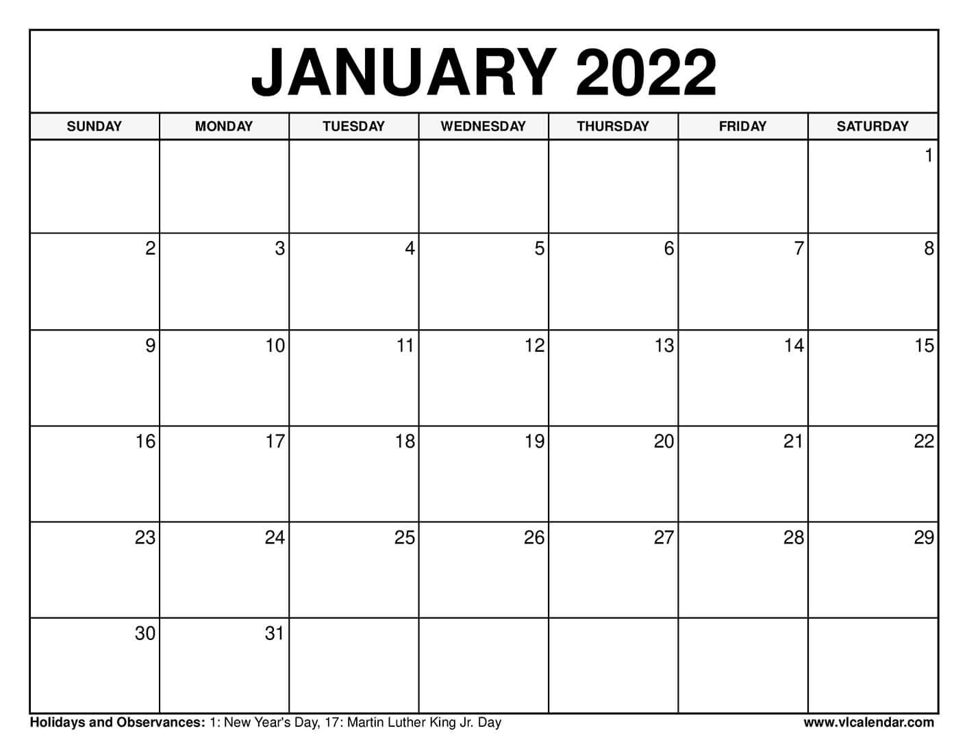 Printable January 2021 Calendar Templates with Holidays