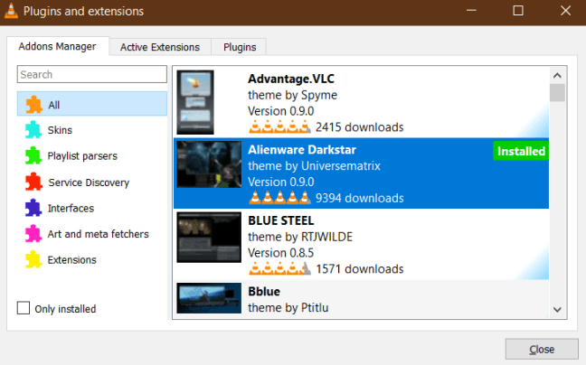 VLC Addon Manager