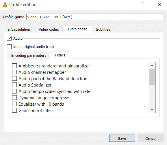 Audio Filters in VLC Conversion