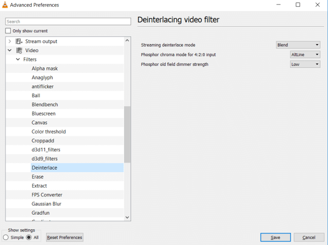 Default Deinterlacing Video Filter