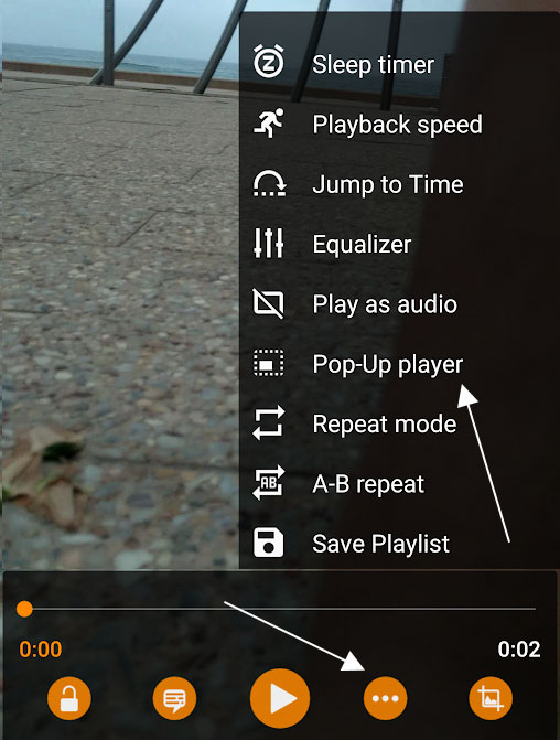 Pop Up Player in VLC for Android