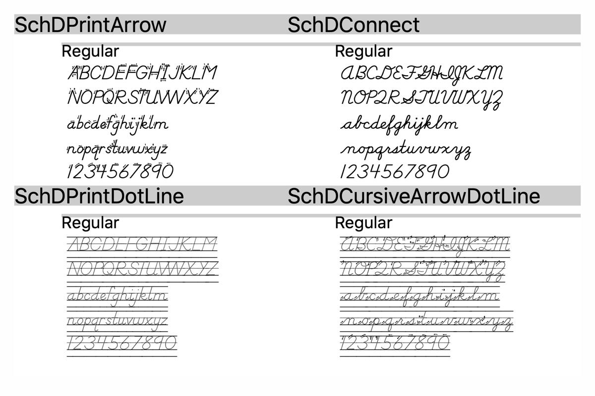 Schoolhouse D Nealian Amp Zaner Bloser Style Fonts