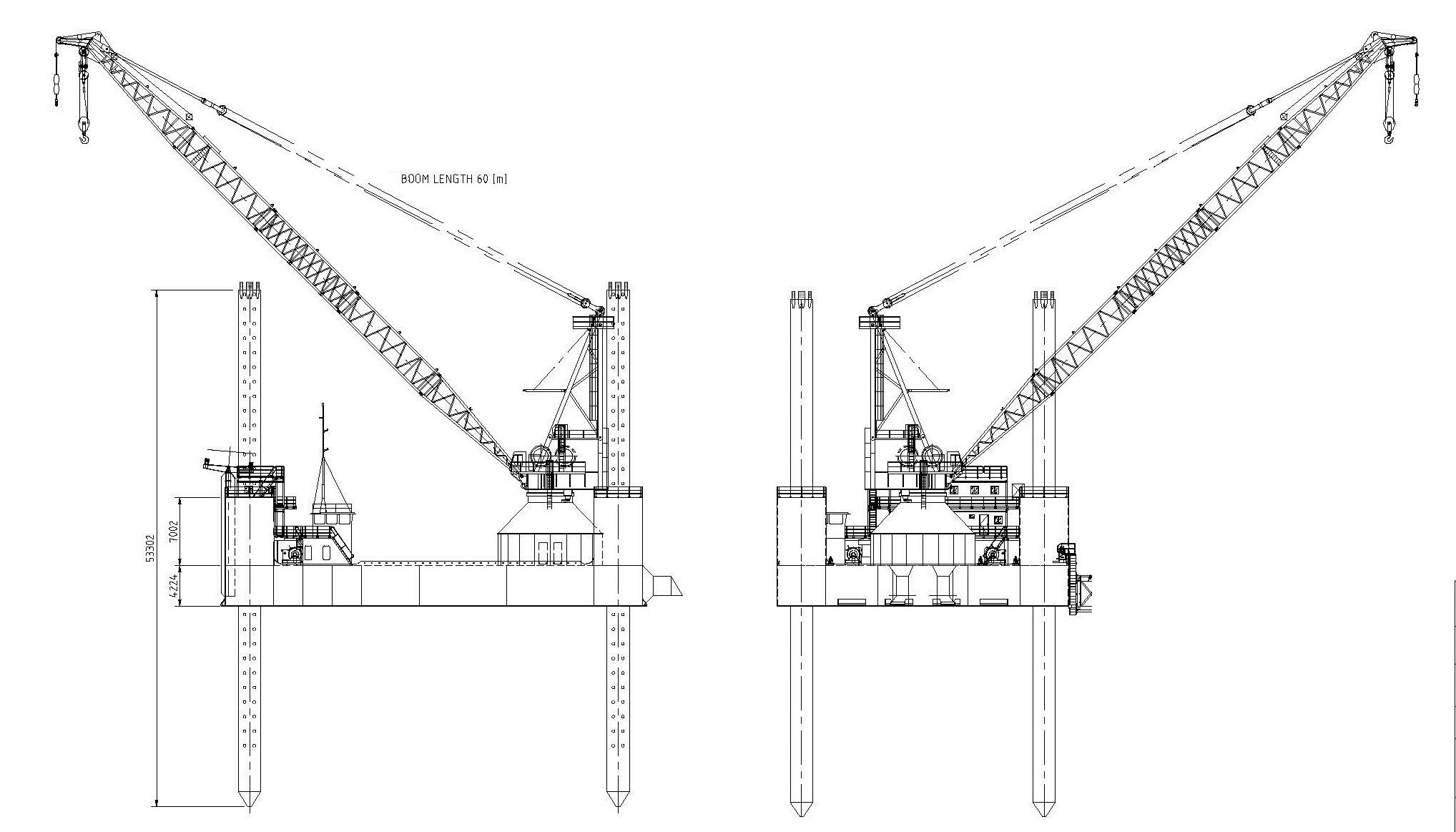 Jack Up Barge 250 Ton Pedestal Crane