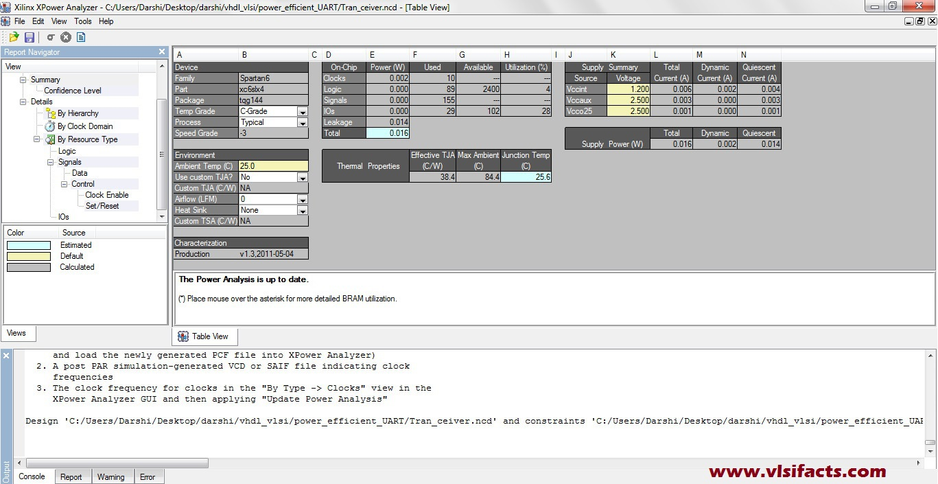 Power Analysis in XILINX Xpower Analyzer | VLSIFacts