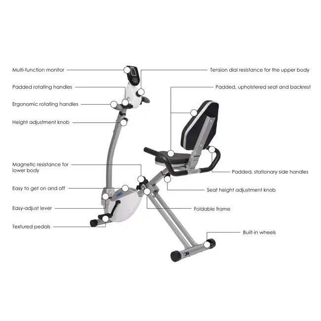 Stamina Products Recumbent Exercise Bike with Upper Body