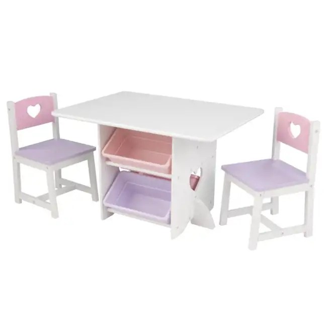 KidKraft Heart Table  Chair Set with Bins  26913
