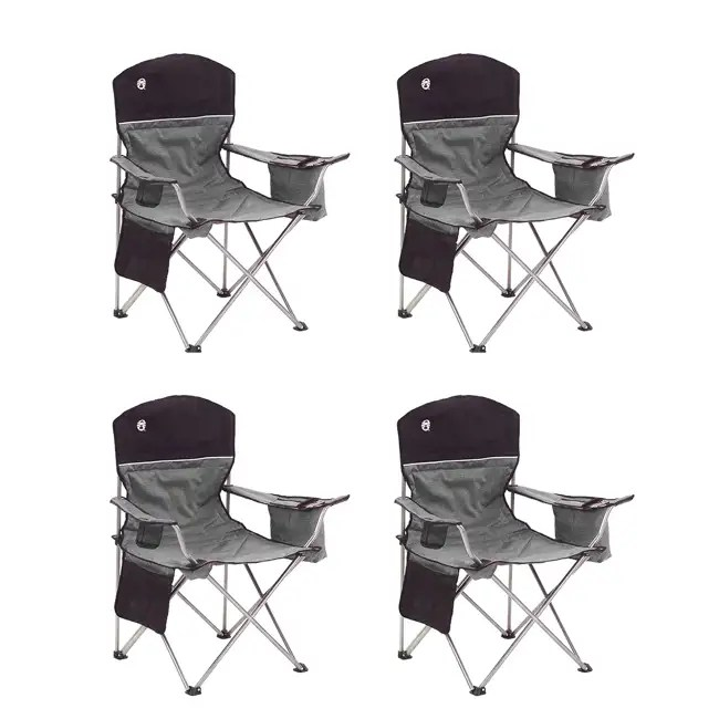 Coleman Oversized Quad Black Chair with Cooler and Cup