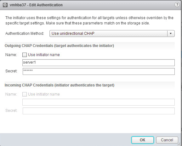 Openfiler configure CHAP secret on ESXi