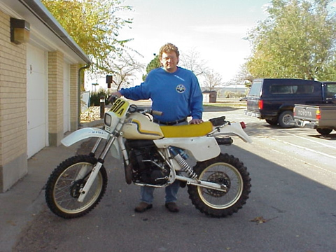 Harry LaClair with his 1983 Husqvarna XC500E