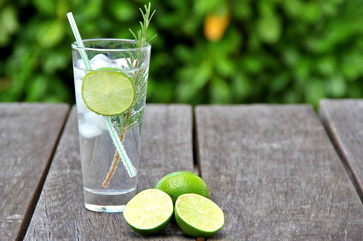 gin glass lime