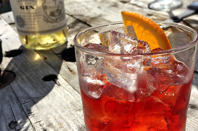gin negroni glass orange
