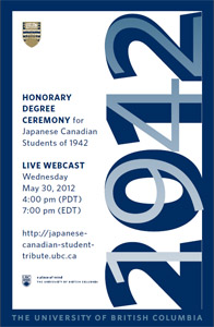 , Honorary degree ceremony for Japanese Canadian students of 1942, VNCS
