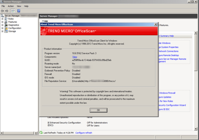 Trend OfficeScan Client version