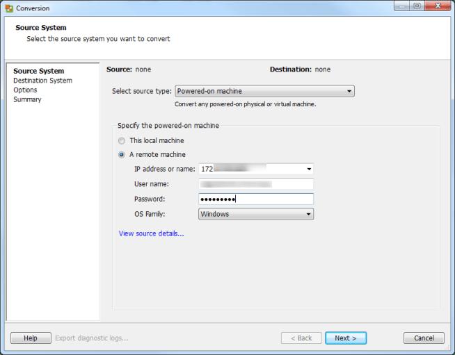 vCenter Server P2V Step 15