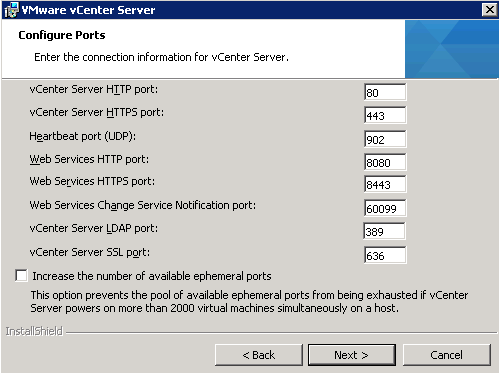 vCenter Server installation Step 11
