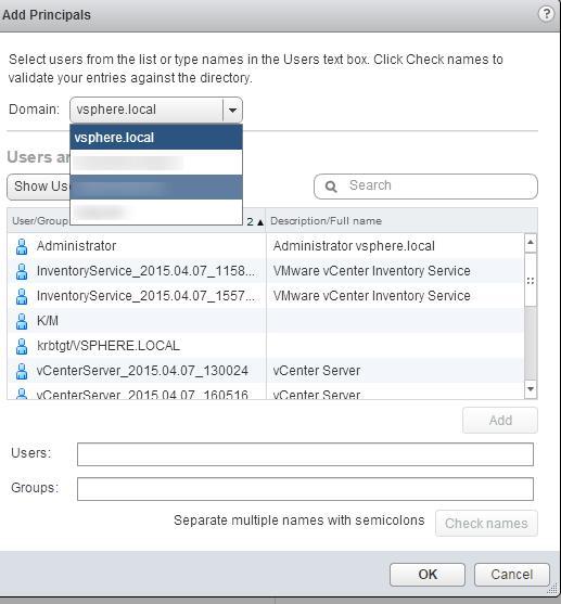vSphere Web Client SSO Add Group