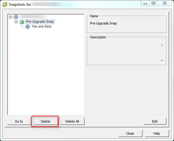 Remove vCenter Snapshot