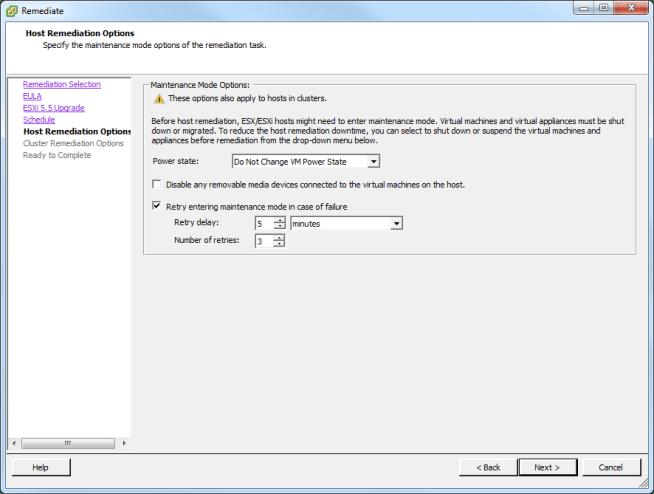 Update Manager Host Upgrade Step 4