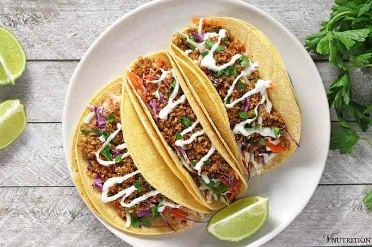 Walnut Meat Tacos | These vegan walnut meat tacos are a great alternative to beef and packs a punch of protein! vegan tacos, vegan taco recipe, vegan recipe, taco recipe