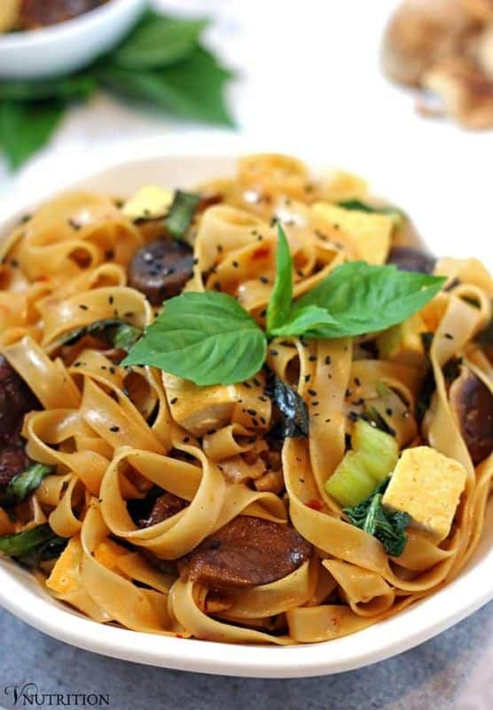 These Thai Basil Noodles are perfect if you're craving some bold favor for dinner. The recipe is easy to make & ready in about 30 minutes.