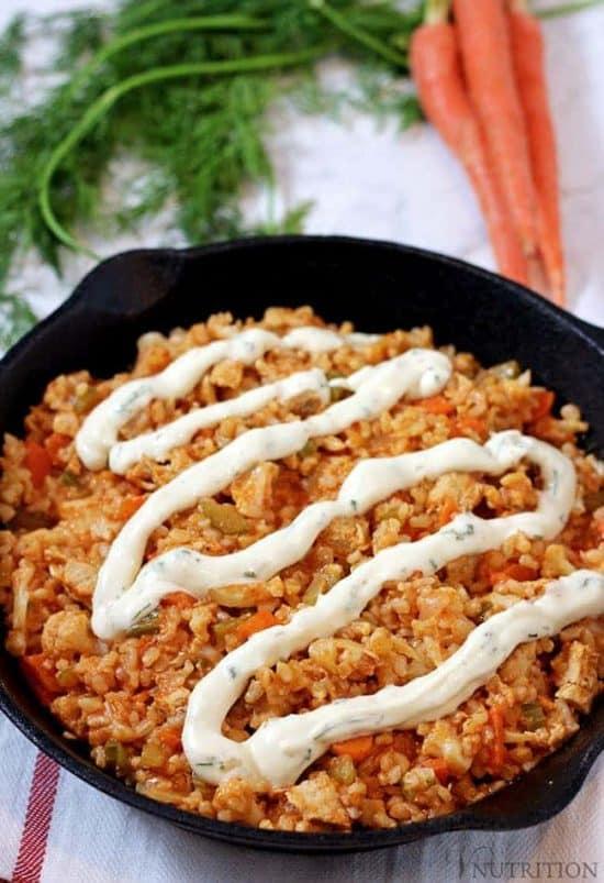 Vegan Buffalo Chicken Rice Skillet   Vegan chicken, brown rice & veggies make a perfect football meal! vegan recipe, buffalo chicken