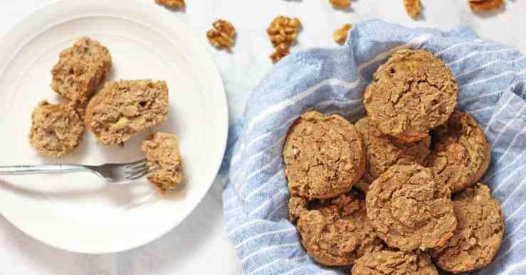 Vegan Banana Nut Muffins | These Lower Carb Vegan Banana Nut Muffins are full of protein and make a heartier breakfast than your everyday muffin because of a surprise ingredient - beans! vegan muffin recipe, vegan recipe, low carb muffins