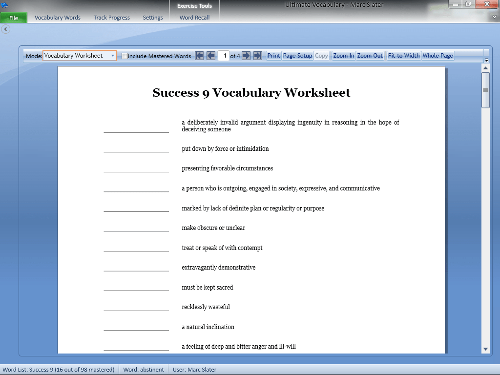 Vocabulary Building Worksheets