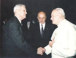 Corneliu Coposu impreuna cu Sanctitatea Sa, Papa Ioan Paul al II-lea, 1992
