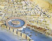Reconstructie a Byrsei cu orasul punic si portul circular