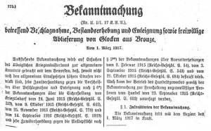 """Bekanntmachung von 1917: """"... Ablieferung von Glocken aus Bronze"""""""