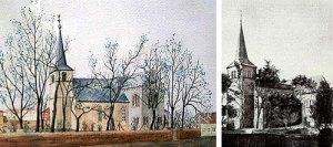 Links: Aquarell der Martinskirche (ca. 1900) Original im ev. Gemeindeamt Völklingen Rechts: Foto zum Vergleich