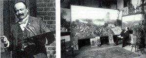 Der Maler Carl Röchling in seinem Atelier.....