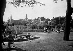 Der Kinderspielplatz im alten Brühl, spuren des Karussels kann man bis heute im Turm Fundarment erkennen