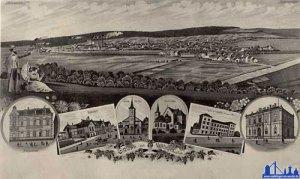 Eine Postkarte von 1893 zeigt neben einem Blick auf Völklingen das Postamt, den damals neuen Bahnhof, die Kirche St. Eligius, die Martinskirche, das Lazarett sowie das Gemeindehaus.