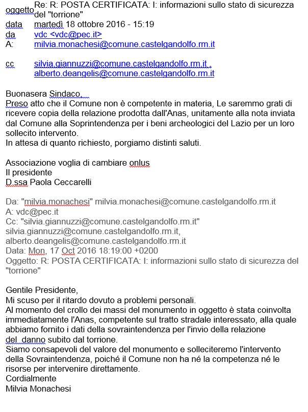 Email del sindaco Monachesi e replica di Voglia di Cambiare