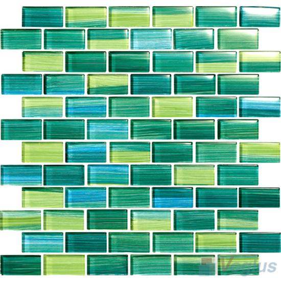 sea green 1x2 subway hand painted glass tile vg hpd95 voglus mosaic