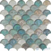 Tiffany Blue Fan Shape Fish Scale Glass Tiles VG-UFN92 ...