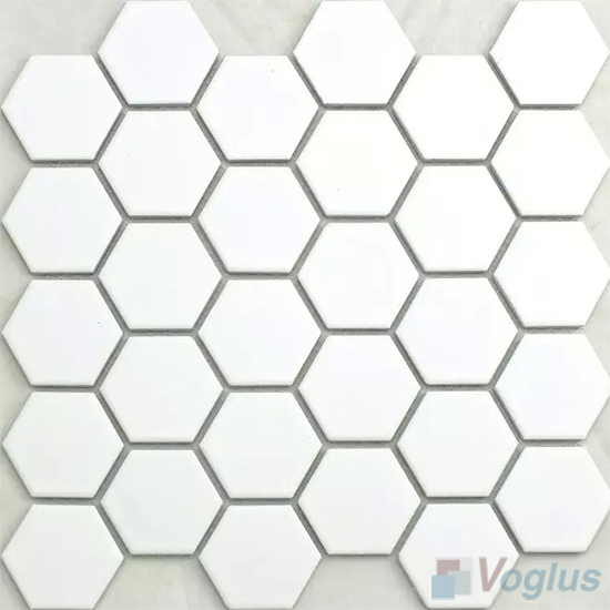 white 2 inch hexagon porcelain mosaic tiles vc bw97 voglus mosaic