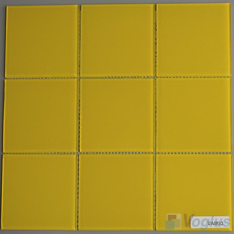 yellow 100x100mm 4x4 inch glass wall mosaic tile vg cyn94 voglus mosaic