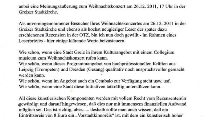 Leserbrief von Prof. Lothar Göthel