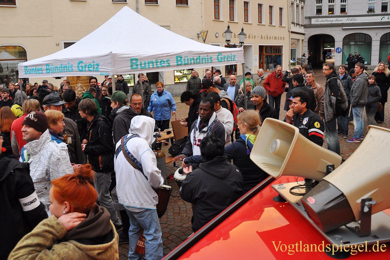 Kundgebung auf dem Greizer Markt – Solidarität mit den Asylbewerbern