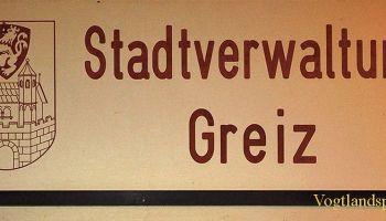 Rathaus und Stadtverwaltung Greiz Schild