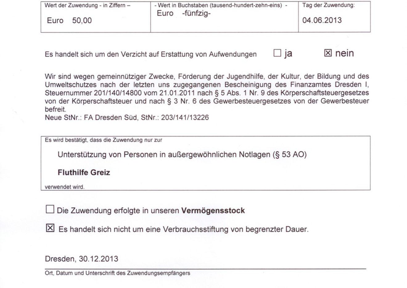 Spendenbescheinigung werden ausgestellt I Vogtlandspiegel