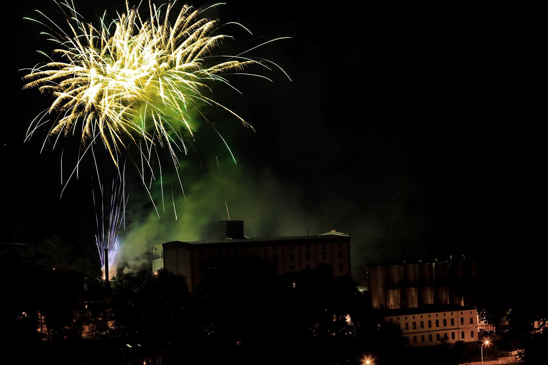 Feuerwerk über der Greizer Brauerei