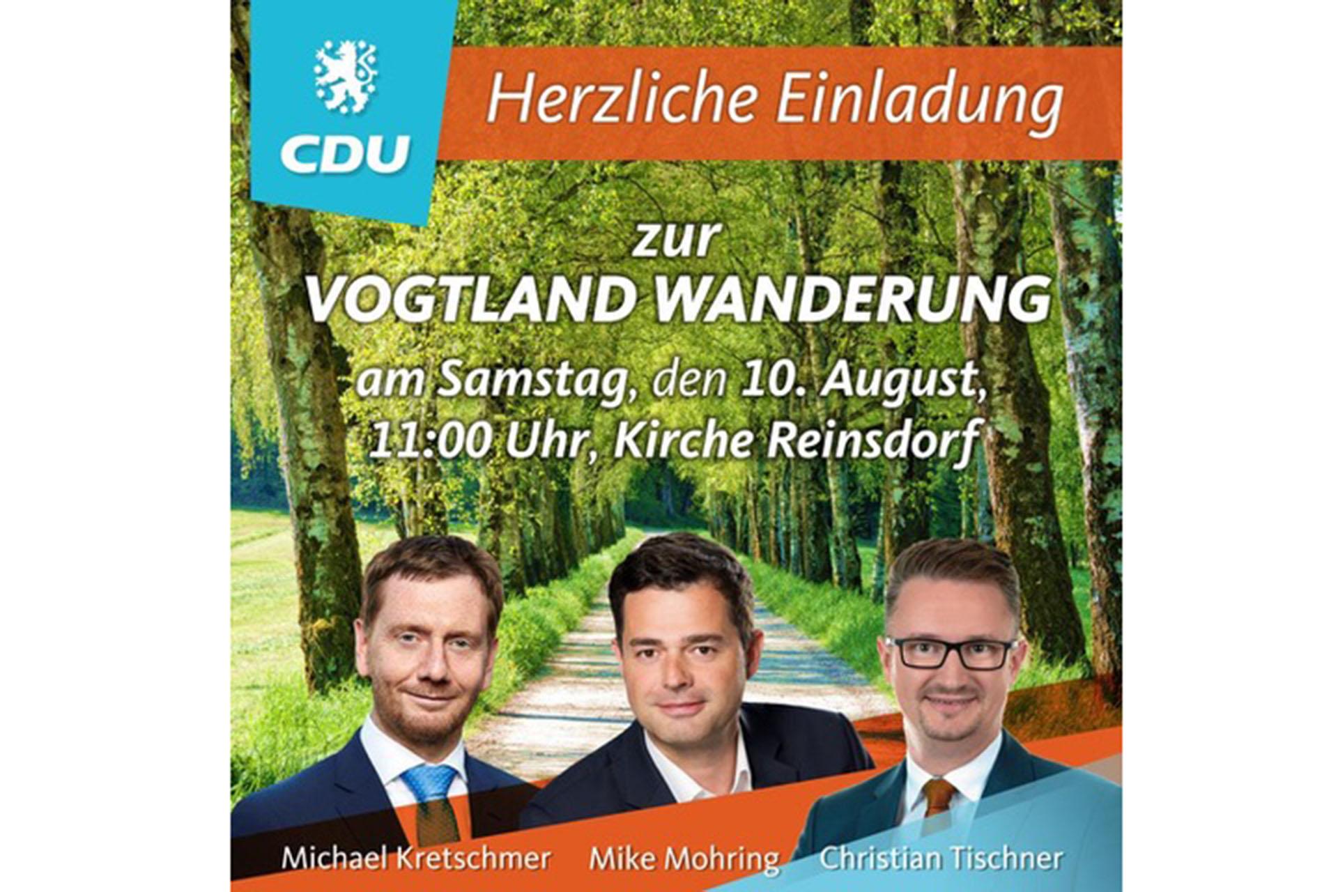 Länderübergreifende Tour führt mit Mike Mohring und Michael Kretschmer am 10. August von Reinsdorf zur Göltzschtalbrücke.
