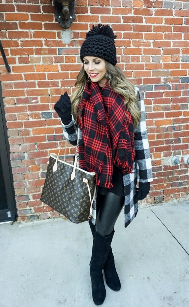 shein plaid coat