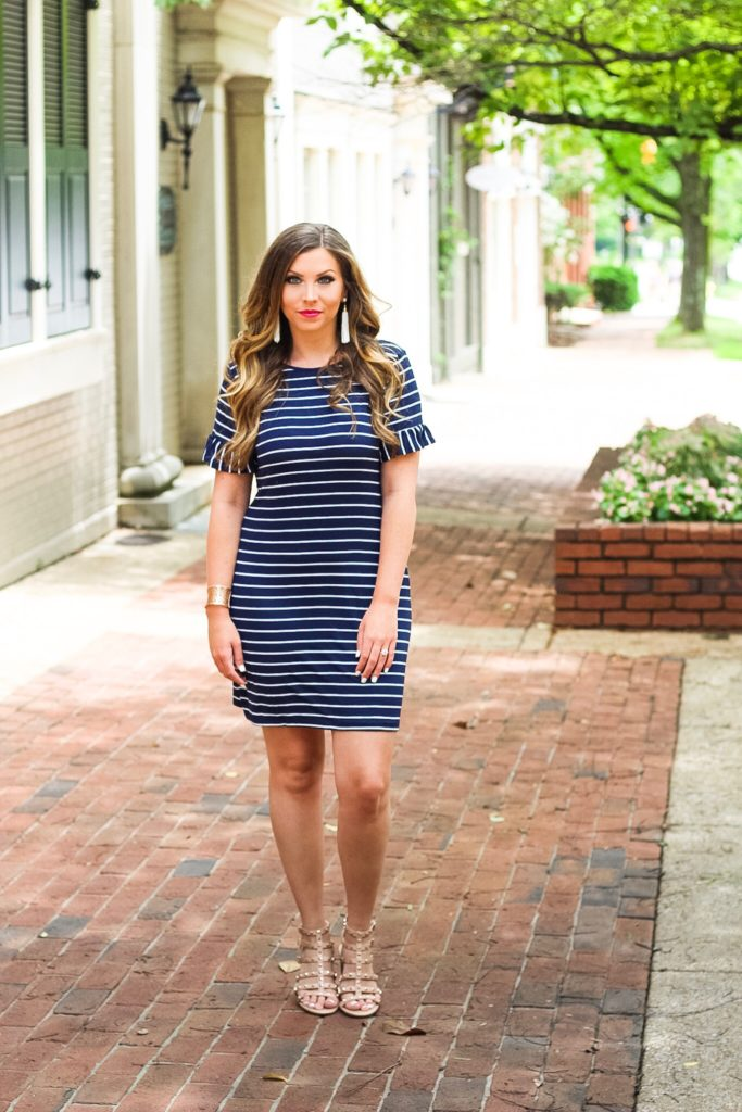 striped-ruffle-sleeve-dress