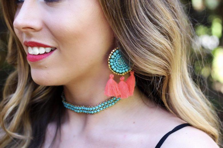 panacea-tuquoise-and-orange-tassel-earrings